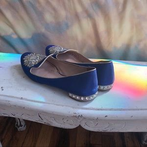 Miu Miu bling heel cobalt blue embroidered loafers